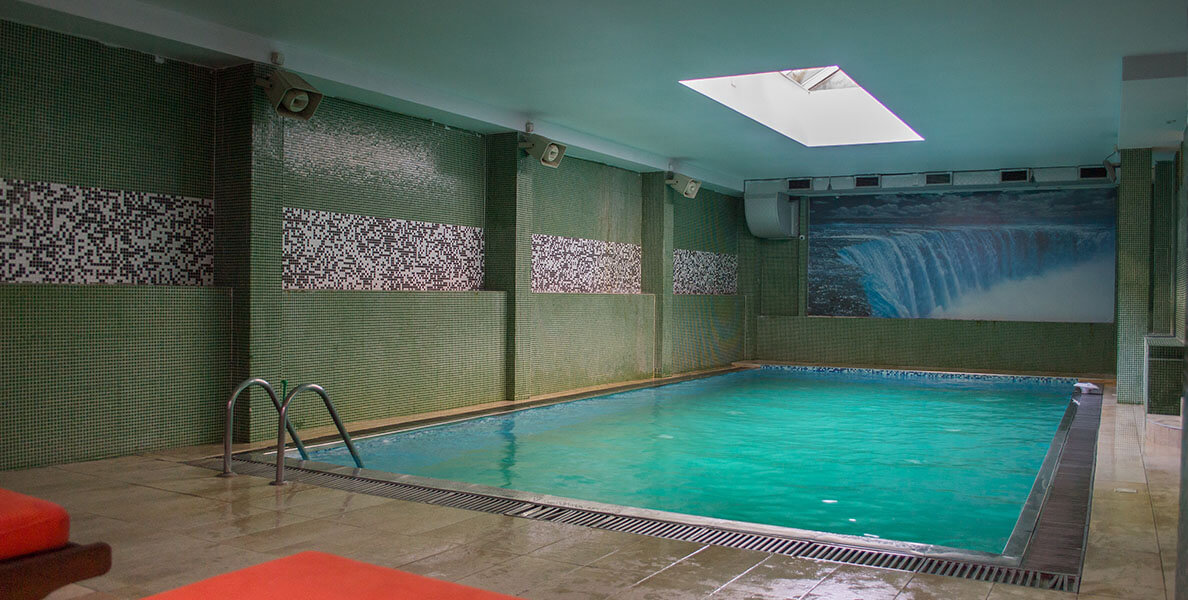 Pool and spa center at the basketball academy